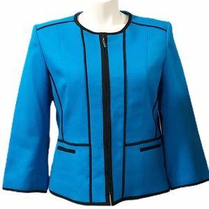 Kasper Blue Blazer with Black Trim Full Zip